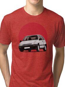 Daihatsu Charade GTti illustration, white with rising sun Tri-blend T-Shirt