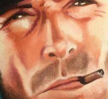 Portrait painting of Clint Eastwood Sticker