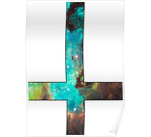 Green Galaxy Inverted Cross White Poster