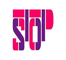 Cool Pink Stop Logo Design Photographic Print