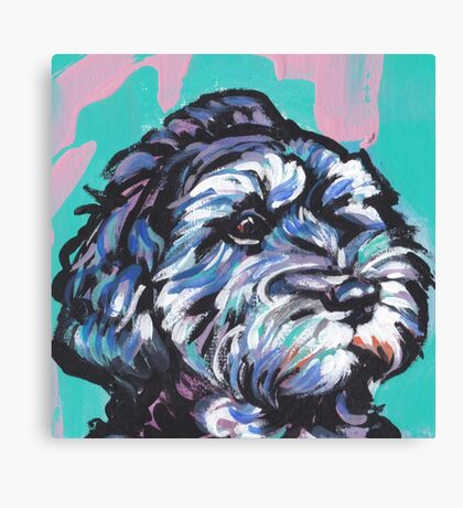 Cockapoo Dog Bright colorful pop dog art Canvas Print