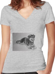 A Little Boys' Best Friend Women's Fitted V-Neck T-Shirt