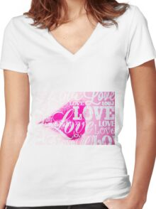Love Lips pink Women's Fitted V-Neck T-Shirt