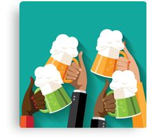 People clinking beer glasses.  Canvas Print