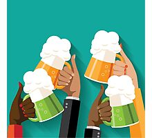 People clinking beer glasses.  Photographic Print