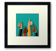 thumbs up flat design Framed Print