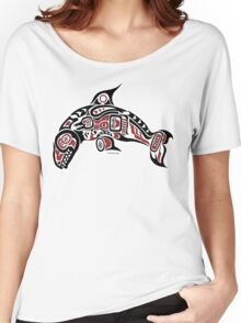 Haida Tlingit Killer Whale, Native American Orca - Red Women's Relaxed Fit T-Shirt