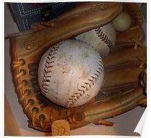 Baseball Mitt and Ball Poster