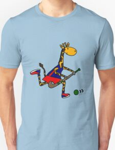 Cool Funky Giraffe Playing Field Hockey Unisex T-Shirt