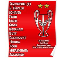 Manchester United 1999 Champions League Winners Poster