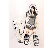Inuit Pin-up Girl with Polar Bear Photographic Print