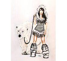 Inuit Pin-up Girl with Polar Bear Photographic Print