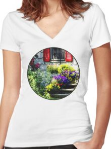 Flowers and Red Shutters Women's Fitted V-Neck T-Shirt