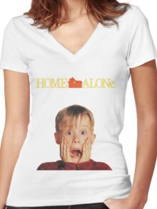 Home Alone Movie Women's Fitted V-Neck T-Shirt