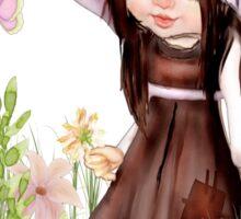Girl Dreaming in the Garden Sticker