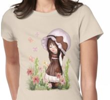 Girl Dreaming in the Garden Womens Fitted T-Shirt