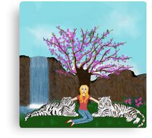 Earth song; girl with white tigers Canvas Print