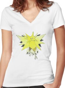 Ditto Zapdos Women's Fitted V-Neck T-Shirt
