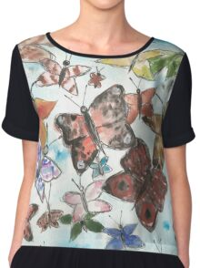 Butterfly Pattern Chiffon Top