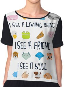 Animals in Origamy Style  Chiffon Top