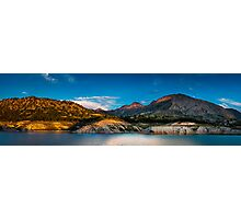 Early light on the mountains and the water - panorama Photographic Print