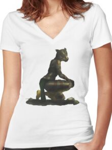 Khajiit / Tiger Woman Women's Fitted V-Neck T-Shirt