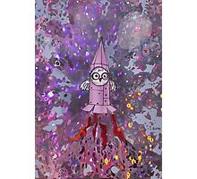 little owl in space (Bunny Inad Book) Photographic Print
