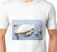 Mother Mute Swan and her Four Cygnets Unisex T-Shirt