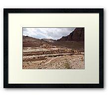 Jordan - Petra - Petra Great Temple across valley Framed Print