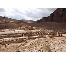 Jordan - Petra - Petra Great Temple across valley Photographic Print