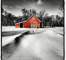 Red barn in Winter by Kim Taylor