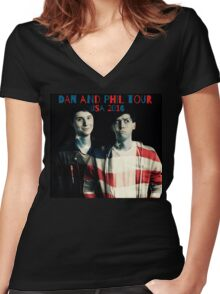 Dan and Phil USA Tour 2016 Women's Fitted V-Neck T-Shirt