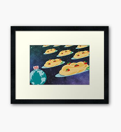 Space invader spaghetti welcome overlords Framed Print