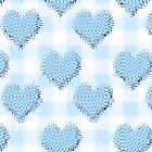 Blue Gingham lovehearts (Digital composition) wallpaper warped by funkyworm