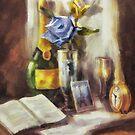 Still Life with Blue Rose by Stefano Popovski