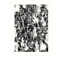 Gone in a splash, skull pattern Art Print