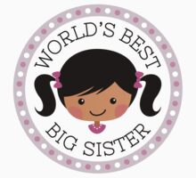 World's best big sister round sticker, cartoon girl with dark skin and black hair by MheaDesign
