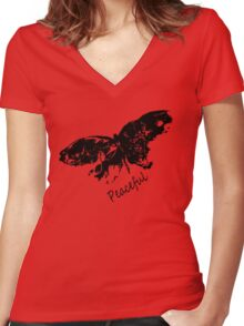 Peaceful Women's Fitted V-Neck T-Shirt