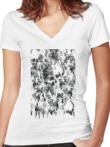Gone in a splash, skull pattern Women's Fitted V-Neck T-Shirt