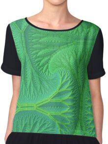 Greenery 3-D Fractal Pattern Chiffon Top