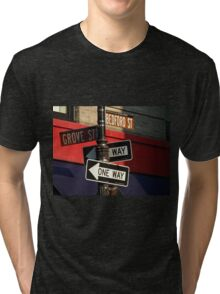 Corner of Grove and Bedford (Friends Building) NYC Tri-blend T-Shirt