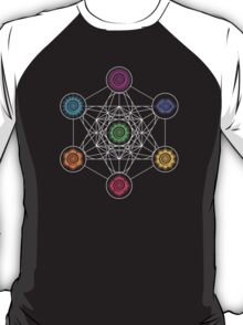 Metatrons Cube, Chakras - Cosmic Energy Centers T-Shirt