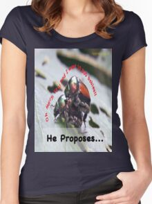 He proposes, and she wants lots of babies… Women's Fitted Scoop T-Shirt