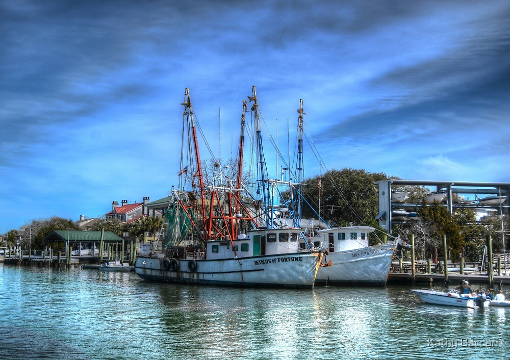 Shrimp Boats At Shem Creek by Kathy Baccari