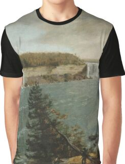 John Vanderlyn - A Distant View Of The Falls Of Niagara. Lake landscape: trees, river, land, forest, coast seaside, waves and beach, marine, lagoon sun and clouds, nautical panorama, lake Graphic T-Shirt