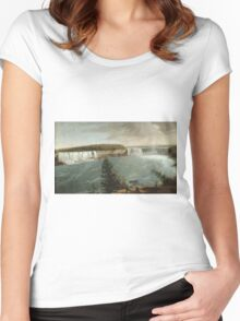 John Vanderlyn - A Distant View Of The Falls Of Niagara. Lake landscape: trees, river, land, forest, coast seaside, waves and beach, marine, lagoon sun and clouds, nautical panorama, lake Women's Fitted Scoop T-Shirt