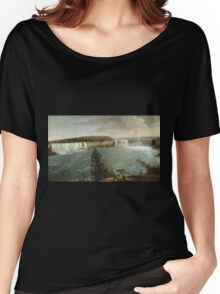 John Vanderlyn - A Distant View Of The Falls Of Niagara. Lake landscape: trees, river, land, forest, coast seaside, waves and beach, marine, lagoon sun and clouds, nautical panorama, lake Women's Relaxed Fit T-Shirt
