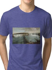 John Vanderlyn - A Distant View Of The Falls Of Niagara. Lake landscape: trees, river, land, forest, coast seaside, waves and beach, marine, lagoon sun and clouds, nautical panorama, lake Tri-blend T-Shirt