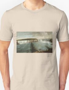 John Vanderlyn - A Distant View Of The Falls Of Niagara. Lake landscape: trees, river, land, forest, coast seaside, waves and beach, marine, lagoon sun and clouds, nautical panorama, lake Unisex T-Shirt