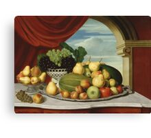 John Vanderlyn - Still Life Fruit In A Classical Setting 1858. Still life with fruits and vegetables: fruit, vegetable, grapes, tasty, gastronomy food, flowers, dish, cooking, kitchen, vase Canvas Print